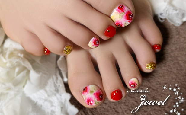 フットネイル、花柄